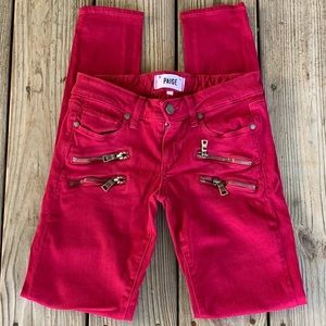 Paige Red 4 Zipper Skinny Jeans.  Size 23
